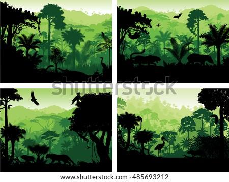 set of vector rainforest