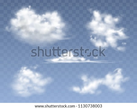 Realistic Clouds On Blue Sky Background Download Free Vector Art