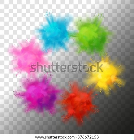 Set of vector realistic color paint powder clouds or explosions. Volumetric abstract Holi decorative elements isolated