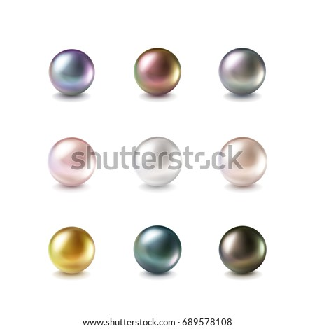 Set of vector realistic color shiny pearl isolated on white background