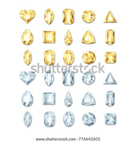 set of vector realistic golden