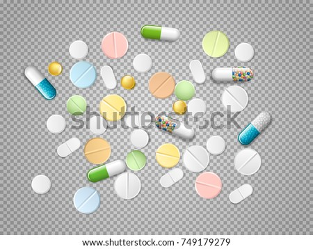 Set of vector realistic pills and capsules isolated on transparent background. Heap of medicines, tablets, capsules, drug of painkillers, antibiotics, vitamins and aspirin.