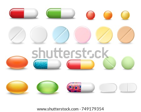 set of vector realistic pills
