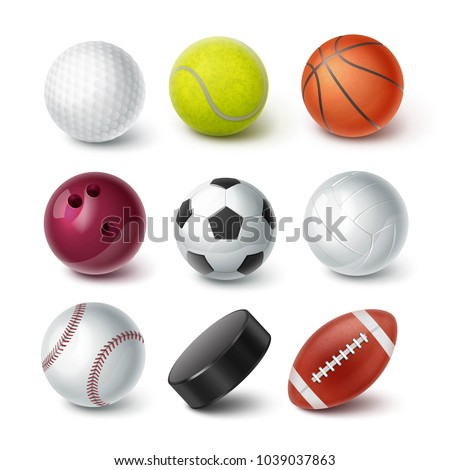 Set of vector realistic popular sport balls and bowls equipment, for football, soccer, rugby, tennis, volleyball, basketball, baseball, gulf, hockey puck isolated on background