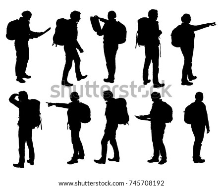 Set of vector realistic silhouettes of man and woman standing, walking and showing hand and map and backpack in different poses - isolated on white background