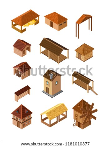 set of vector realistic wooden village buildings of isometry