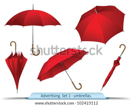 Set of vector red umbrellas