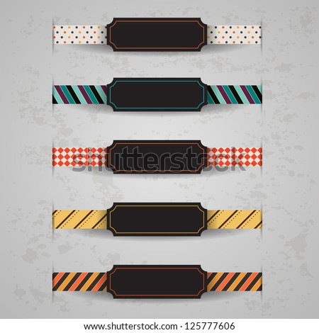 Set of vector retro and vintage ribbons