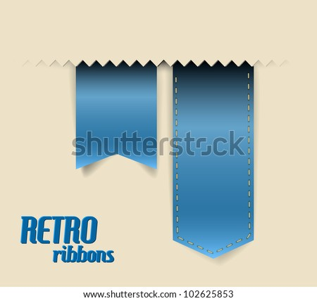 Set of vector retro ribbons, labels, stickers, tabs and tags