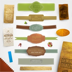 Set of vector retro ribbons, old dirty paper textures and vintage labels. Elements for design.