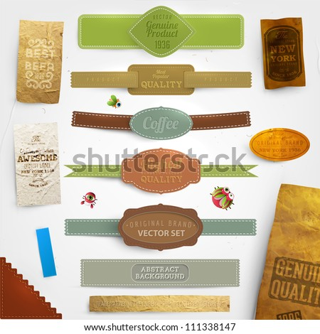 Set of vector retro ribbons, old dirty paper textures and vintage labels. Elements for design. - stock vector