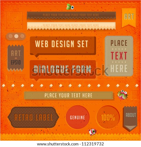 Set of vector retro ribbons, old dirty paper textures and vintage labels. Elements for web design templates. Letterpress effect.