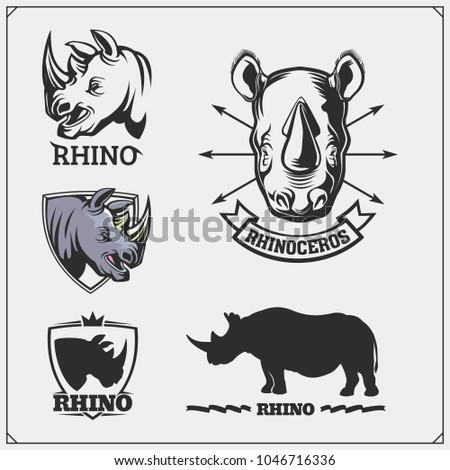 Set of vector Rhinoceros emblems, labels, badges and design elements.