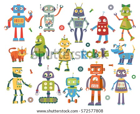 set of vector robots in cartoon