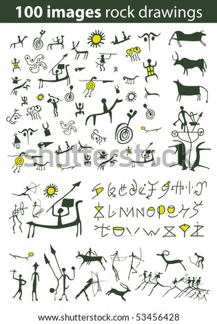 Set of 100 vector rock drawings