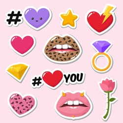 Set of vector romantic icon of love stickers. Stickers in the form: Lips are textured under the leopard, heart, rose, diamond, star, lips, ring and text: I Love You. Illustration of love stickers in f