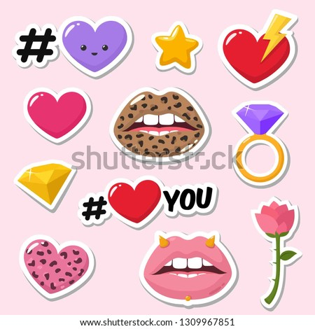 set of vector romantic icon of