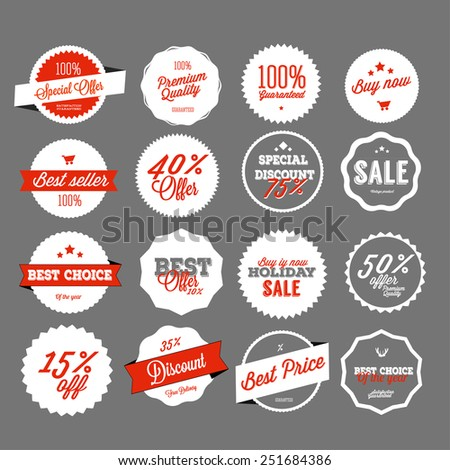 Set of vector sales labels and sticker design