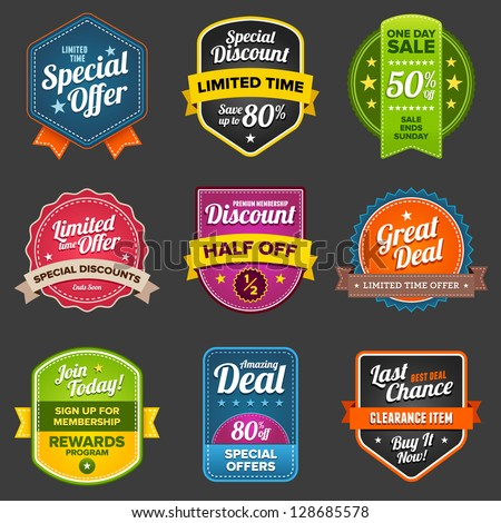 Set of vector sales labels and sticker graphics