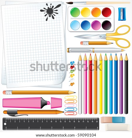 Set of Vector School Tools and Supplies , all object and items separated and grouped - FOR SIMILAR IMAGES PLEASE SEE AT MY GALLERY