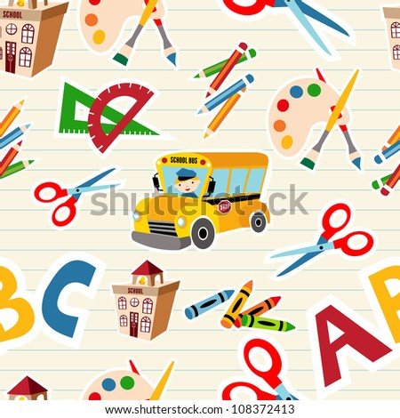 Set of vector School tools and Supplies seamless pattern. Vector file layered for easy manipulation and custom coloring.
