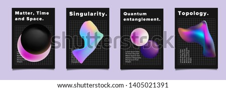 Set of vector sci-fi retrofuturistic posters for science or IT event. Distorted and glitched neon holographic 3d solids of matter on dark background. Geometric oily chromatic fluid shapes.