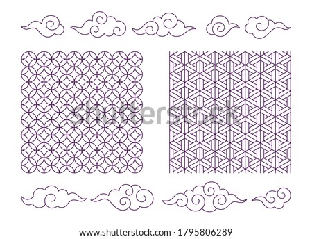 Set of vector seamless abstract patterns, fractal tiles, traditional Japanese ornaments and nice clouds. Isolated objects in Asian style, shoji kumiko. Editable stroke for your comfortable usage Сток-фото ©