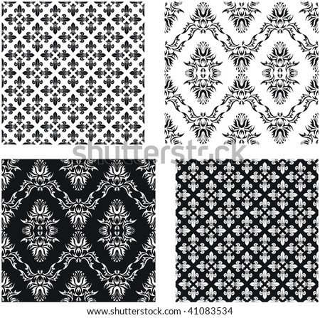 Set of vector seamless damask patterns and patterns with fleurde