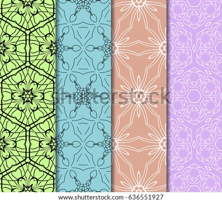 set of 4 Vector seamless pattern. Geometric ornament with abstract flower. #636551927