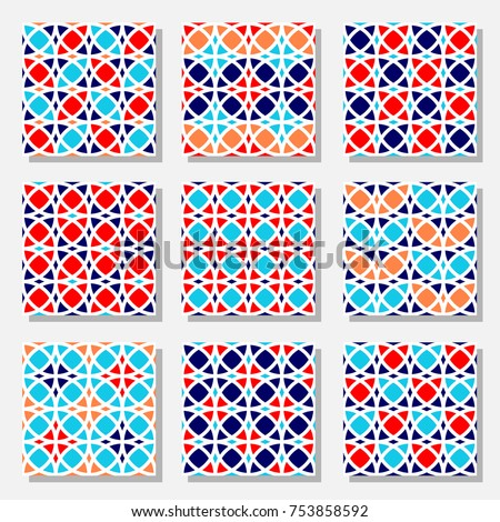 Set of vector seamless pattern with geometrical ornament.  Abstract patchwork design. Traditional moroccan style