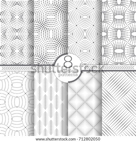 Set of vector seamless patterns. Modern stylish geometric textures with small dots. Infinitely repeating geometrical ornaments with dotted shapes: zigzag, rhombus, diamond, zigzag, waves,dotted lines.