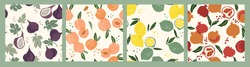 Set of vector seamless patterns with fruits. Trendy hand drawn textures. Modern abstract design for paper, cover, fabric, interior decor and other users.