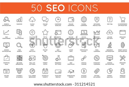 Set of Vector SEO Search Engine Optimisation Elements and Icons Illustration can be used as Logo or Icon in premium quality