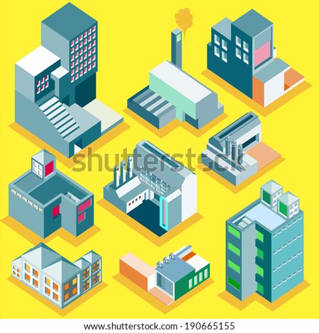 Set of vector several isometric buildings with isolated background. apartment, factory, office. make custom map or info graphic
