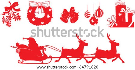 set of vector shapes on Christmas theme