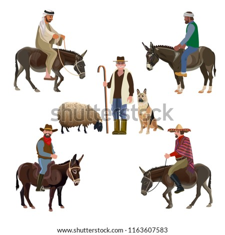 Set of vector shepherds of different nationalities. Men riding a donkey. Vector illustration isolated on white background