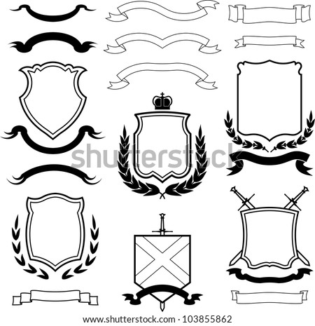Set of vector shields, coats of arms and laurel wreaths