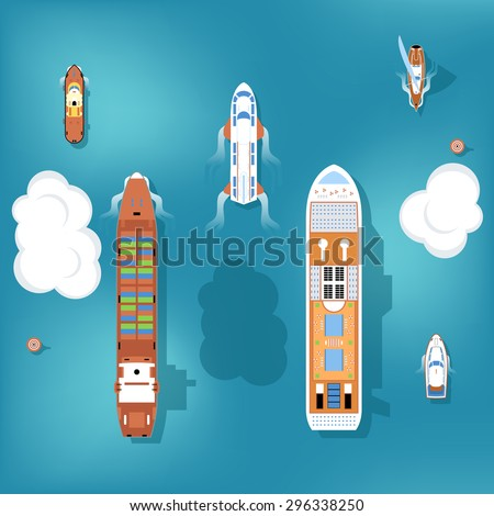 set of vector ships top view