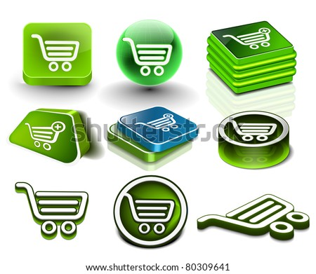 Set of vector shopping web icon design element.