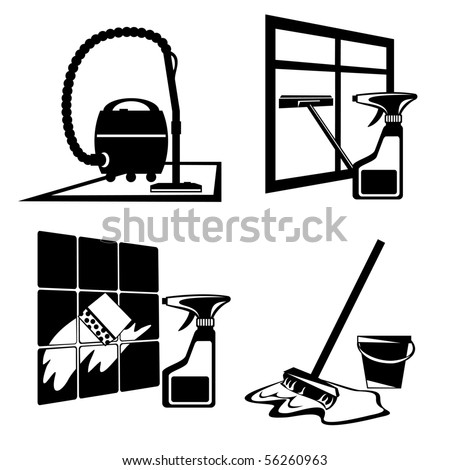 set of vector silhouette icons of black cleaning, washing and maintenance of cleanliness