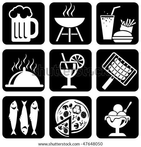 set of vector silhouette icons of food, barbecue and picnic