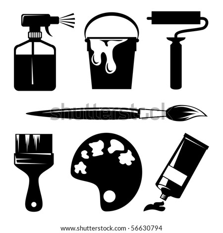 set of vector silhouette icons of paint and painting tools