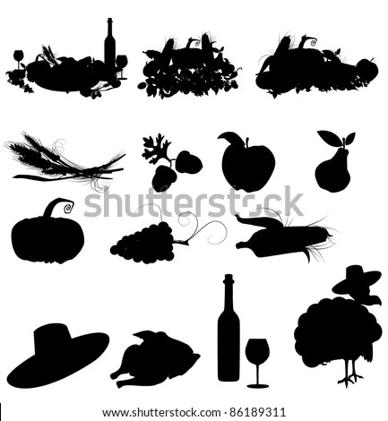 set of vector silhouette images of fall festivals and harvest