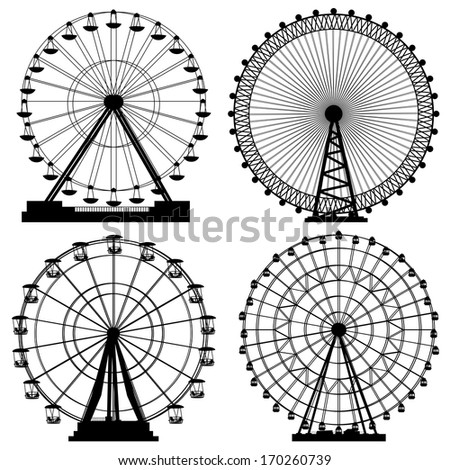 Set of vector silhouettes Ferris Wheel from amusement parks