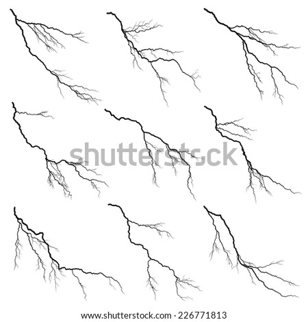 Set of vector silhouettes illustration of thunderstorm lightning isolated on white background.