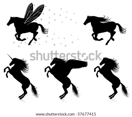 Set of vector silhouettes of horses. - stock vector