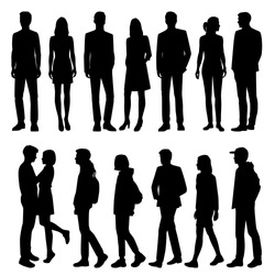 Set of vector silhouettes of  men and a women, a group of standing and walking business people, black color isolated on white background