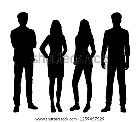 Set of vector silhouettes of  men and a women, a group of standing business people, black color isolated on white background #1259457529