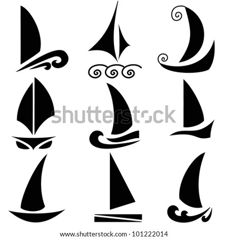 Set of vector silhouettes of ships