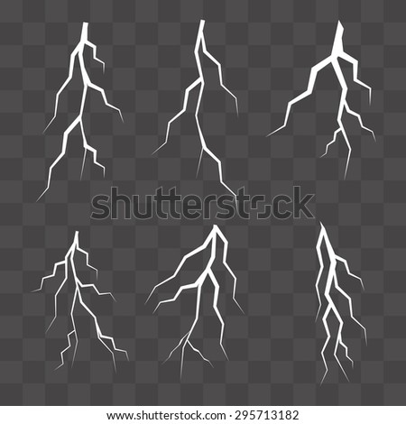 Set of vector silhouettes of thunderstorm lightning isolated. vector illustration
